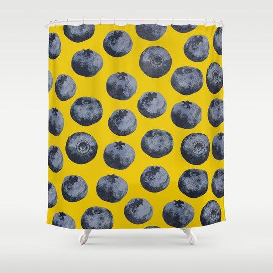 Beach Blanket Blueberry: Blueberry Pattern Shower Curtain By Georgiana Paraschiv