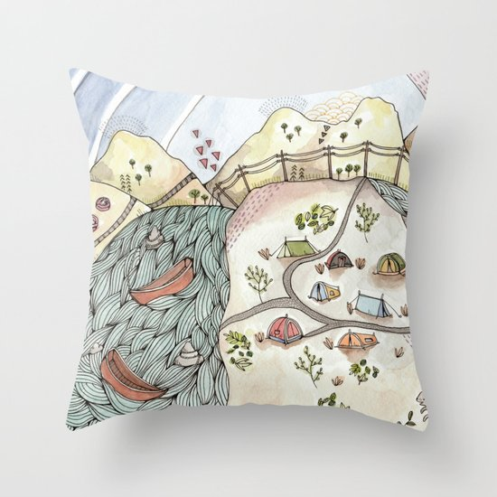 Desert Camp Throw Pillow