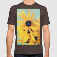 Sweet Yellow Flowers Mens Fitted Tee Brown SMALL