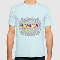Lady Gouldian Finches Mens Fitted Tee Light Blue SMALL