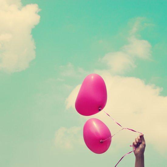 Free Love, Pink Heart Baloons on Retro Green Sky  Art Print