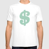 Mint Dollar Mens Fitted Tee White SMALL