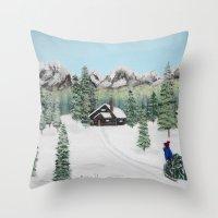 Christmas on the mountain Throw Pillow