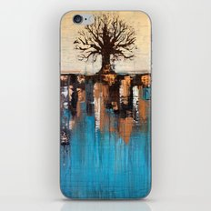 Abstract Tree - Teal and Brown Landscape Painting iPhone & iPod Skin