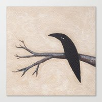 Crow On Branch  Canvas Print