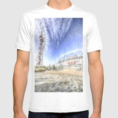 West Ham Olympic Stadium And The Arcelormittal Orbit Snow SMALL Mens Fitted Tee White