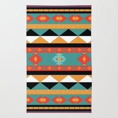 Geometric Aztec Tribal Pattern - in amethyst, sienna, orange and purple Rug