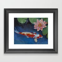 Koi And Water Lily Framed Art Print