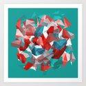exploding polygones Art Print