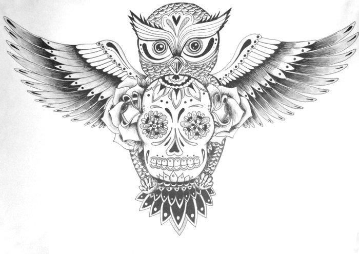 Sugar Skull Owl Art Print by Ash Stevens | Society6