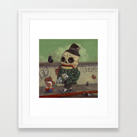 Kicking It Old School. Framed Art Print
