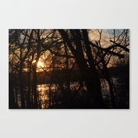 Winter Sun and River Canvas Print