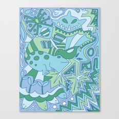 Abstract Animals - Blue and Green  Canvas Print