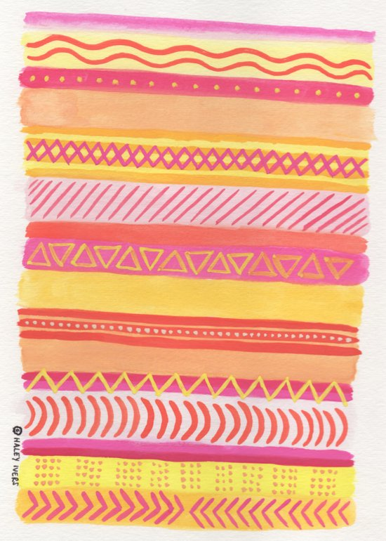 Tribal#1 (Orange/Pink/Yellow) Art Print