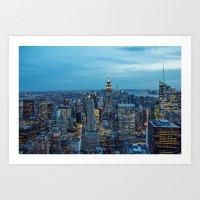 NYC Skyline A Night Art Print