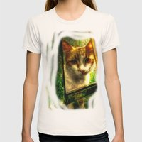 Daisy Cat Womens Fitted Tee Natural SMALL