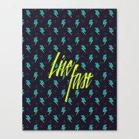 Live Fast blue Canvas Print
