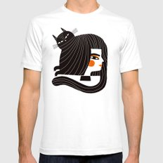 CAT HAIR Mens Fitted Tee White SMALL