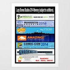 Lazy Bones Studios 2014 Itinerary Art Print