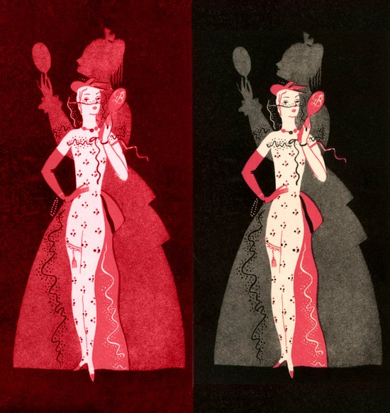 Vintage French Fashionista in Black and Pink Art Print