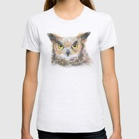 Great Horned Owl Watercolor Womens Fitted Tee Ash Grey SMALL