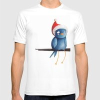 Christmas Bird Mens Fitted Tee White SMALL