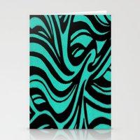 Blue & Black Waves Stationery Cards