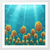 Tulips Under The Sea Art Print
