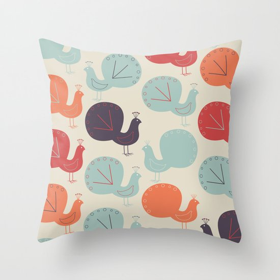 Peacock Pattern Throw Pillow