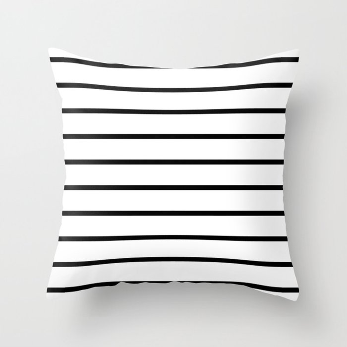 Black Stripe Throw Pillow : Thin Black Stripe Pattern Throw Pillow by RexLambo Society6