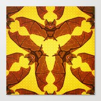 Geometric Bat Pattern - Golden version Canvas Print
