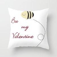 Bee My Valentine Throw Pillow