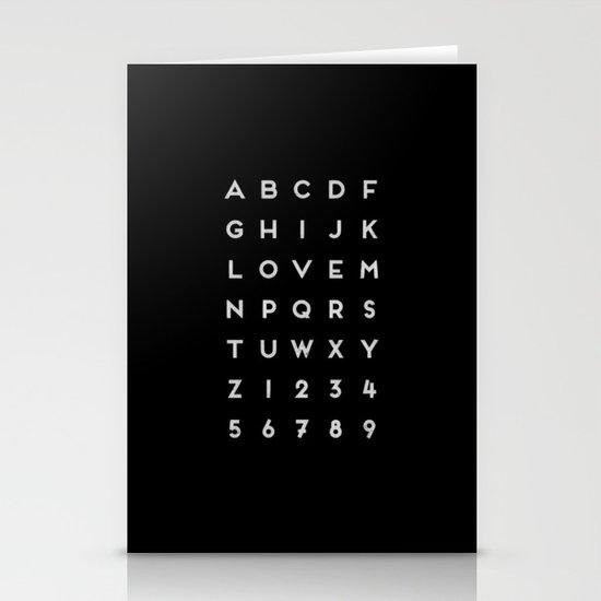 Letter Love - Black Stationery Card