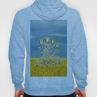 Silver Flowers on Golden Grass Hoody