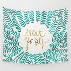 Treat Yo Self – Gold & Turquoise Wall Tapestry