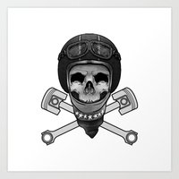 Vintage Bike Rider Art Print