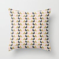 Gold + Black + Pink Mountains Throw Pillow