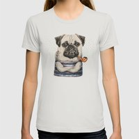 Mr.Pug Womens Fitted Tee Silver SMALL