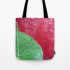 Leaf on red Tote Bag
