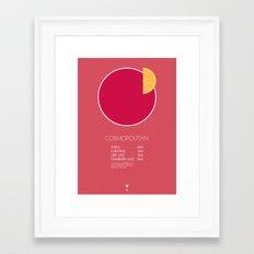 Cosmopolitan Cocktail Recipe Poster (Metric) Framed Art Print