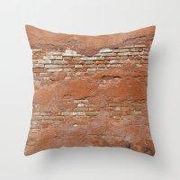 Orange Brick Wall Throw Pillow