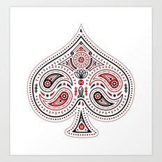83 Drops - Spades (Red & Black) Art Print