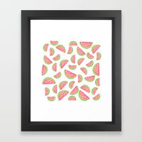 Hand painted modern watercolor hearts watermelon fruits pattern Framed Art Print