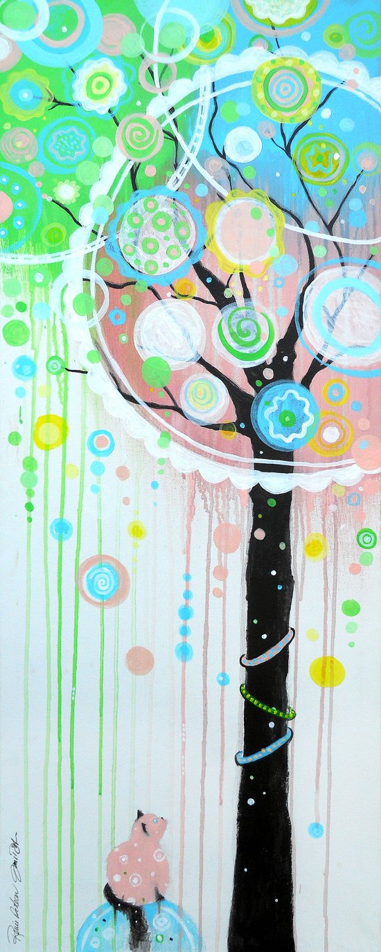 Hello Pink Kitty Tree Art Print