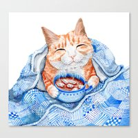 Happy Cat Drinking Hot Chocolate Canvas Print