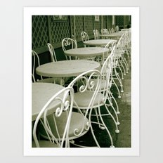 Cafe Table and Chairs - black and white Art Print