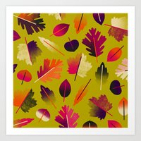 Fall Leaves Pattern Art Print