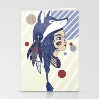 native american Stationery Cards featuring Native American by Katie Ruby Illustrator