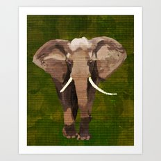 ELEPHANT: THE GREY GRAZER Art Print