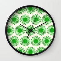 Vintage Flower_Green Wall Clock